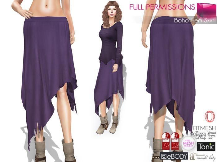 %50SUMMERSALE Full Perm Boho Hem Skirt for Ocacin, Slink, Maitreya, Belleza, Tonic, TMP, Ebody, Fitmesh 5 Sizes