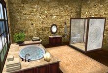 Warm Wood and Marble Bathroom