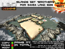 """Islands set """"Brothers"""" for 64x64 land size or skybox"""