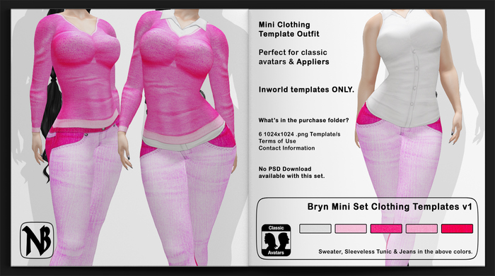 Bryn MINI Sweater, Sleeveless Tunic & Designer Jeans MINI Clothing Templates Set - Full Permissions