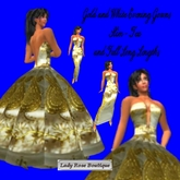 84 Gold and White Satin ballroom, tea and slim, flexi Gown