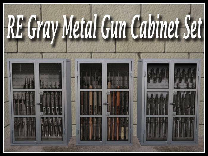 RE Gray Metal Gun Cabinet Set - 3 Different Rifle Racks