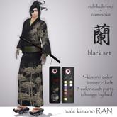 Traditional and Elegant Men's Kimono RAN -蘭- ★ Black Set / 3 colors, 5 sizes