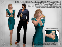 LDG-FULL PERM 746 Bento Drink Arm Animation - AO & Sit Compatible / Glass Holding Pose / Builderkit