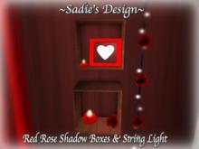 ~Sadie's Design~ Red Rose Shadow Box & String Light Bag