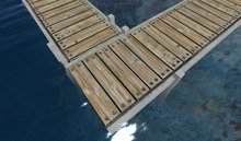 Concrete Dock, Pier, Wharf, or Walkway with Wood Planks (MT)(10X3) Offset Legs