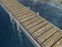 Concrete Boat Dock, Pier, or Wharf with Wooden Planks (MC)(10x3)