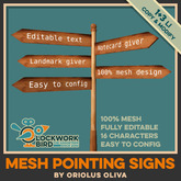 ◥[OO]◤ Wooden Pointing signs v2.0 - Mesh, Editable text!