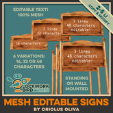 [OO] Editable wooden text sign board - Mesh