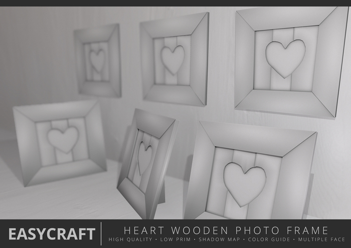 EasyCraft - Full Perm Heart Photo Frame Wall / Stand Decor Builder Kit | Shadow Map | Low Prim | Cute Design