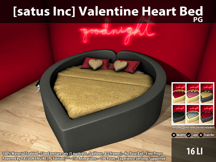 [satus Inc] Valentine Heart Bed [PG] ~ 150 Animations - 100 Poses