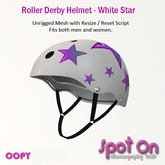Spot On Roller Derby Helmet - White Star