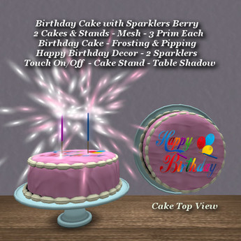 Prime Second Life Marketplace Birthday Cake W Sparklers Berry Funny Birthday Cards Online Alyptdamsfinfo