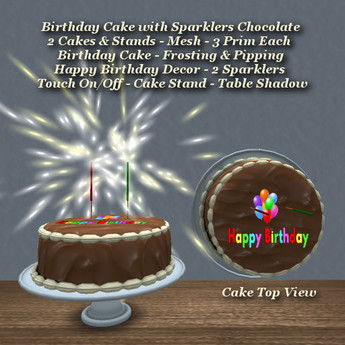Excellent Second Life Marketplace Birthday Cake W Sparklers Chocolate Funny Birthday Cards Online Fluifree Goldxyz