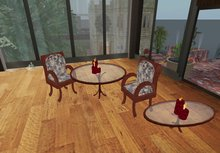 Dining table with candles + De Luxe Chairs