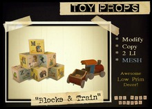Toy Props - Blocks & Train (Wooden Toys)