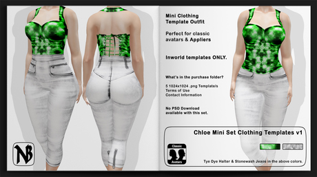 Chloe MINI Tye Dye & High-waist Jeans Clothing Templates Set - Full Permissions