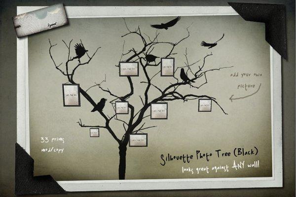 Kyoot Home - Silhouette Photo Tree I (Black)