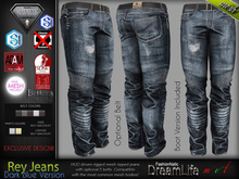 Rey Male Mens Dark Blue Denim Jeans Pants- Mesh - TMP, Adam, Slink, Aesthetic, Signature Gianni - Geralt, Belleza Jake