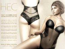 "HEC ""Emily"" Lace Sheer Lingerie Tintable Bodysuit DSFL-00 (UA)"