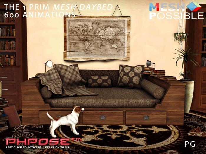 1 Prim Daybed Day Bed 600 Animations PG