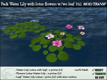Water Lily with lotus flowers - leaf cluster. Pack with 3 types. MOD/TRANSF
