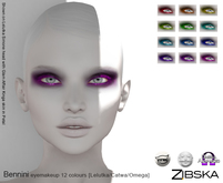 Zibska [50L Closeout] ~ Bennini eye makeup in 12 colors with Catwa, Lelutka and Omega appliers.