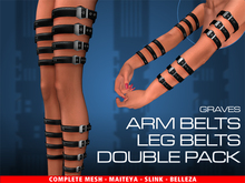 GRAVES Arm + Leg Belts - Double Pack - leather latex harness, garters