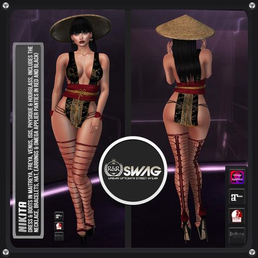 [RnR] Swag Nikita Asian Costume for Maitreya, Slink, Belleza Mesh Bodies! w/Omega Applier Panties in Red & Black!