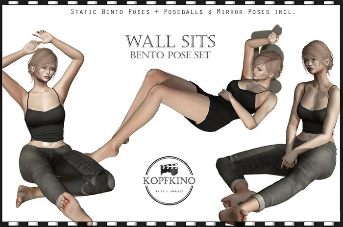 KOPFKINO: Wall Sits Bento Pose Set