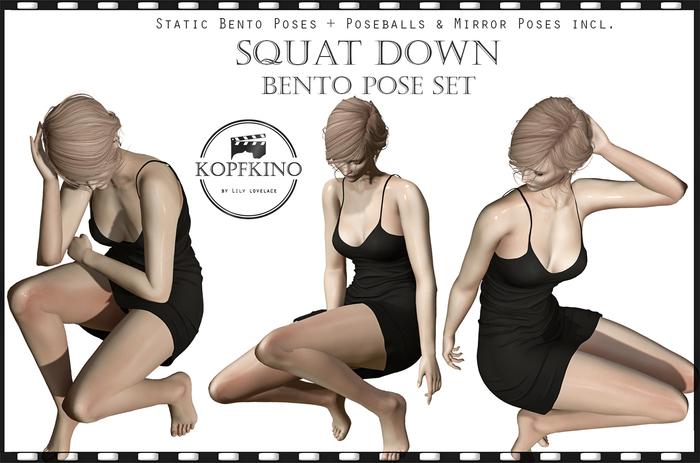 KOPFKINO: Squat down Bento Pose Set