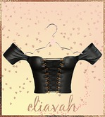 Eliavah ~ Parliyah Off-Shoulder Top [Black Leather] (Maitreya, Slink Hourglass, Belleza Isis & Freya)