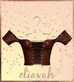 Eliavah ~ Parliyah Off-Shoulder Top [Brown Leather] (Maitreya, Slink Hourglass, Belleza Isis & Freya)