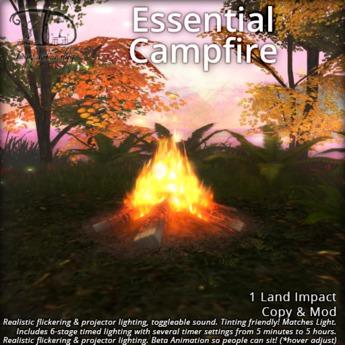 Essential Mesh Campfire - 1 LI+Timed Flickering Lighting+Low Lag