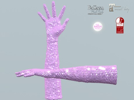 ~PP~ Iridescent Pink Sequin - Long Bento Gloves