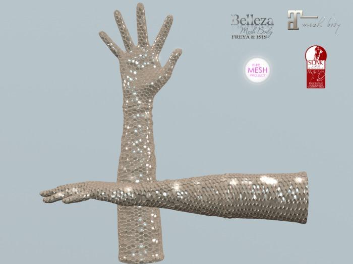 ~PP~ Naked Sequin Long Bento Gloves