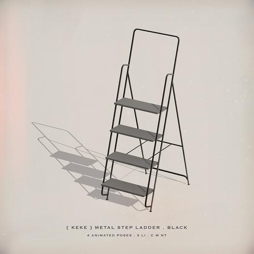 [ keke ] metal step ladder - black