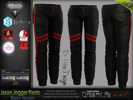 JASON BLACK  Male Jogger Pants MESH - ADAM, AESTHETIC, SIGNATURE GIANNI, SLINK, TMP, JAKE - FashionNatic