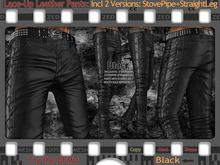 FULL - ZED MESH MATERIALS ENABLED: Lace-Up Black Leather StovePipe & StraightLeg Pants
