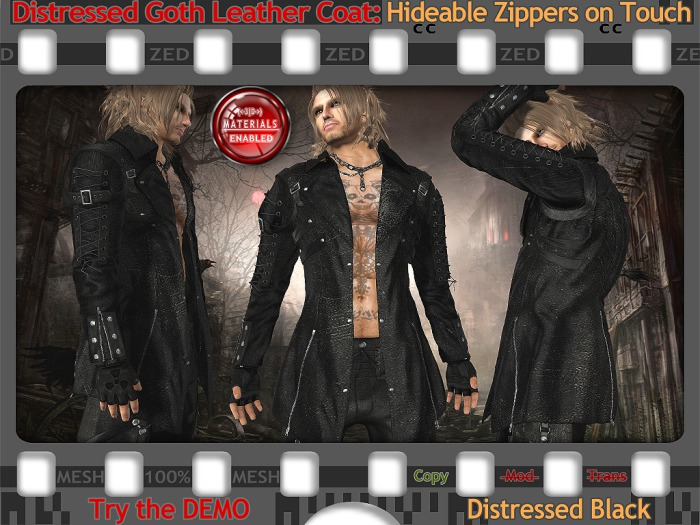 FULL - ZED MESH MATERIALS ENABLED: Distressed Black Goth Leather Coat - Available in 6 Colours