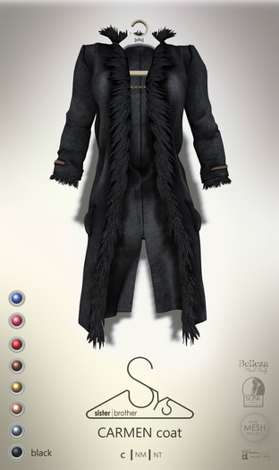 [sYs] CARMEN coat (body mesh) - black