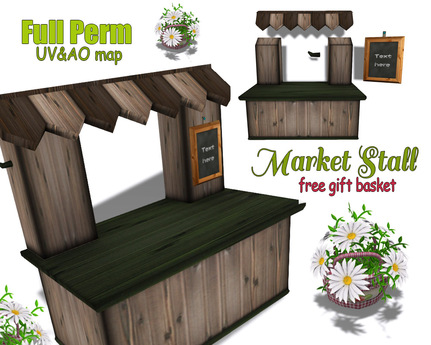 [ FULL PERM ] Market Stall / Wooden Shop booth