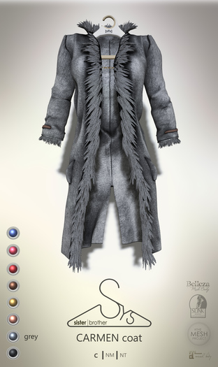 [sYs] CARMEN coat (body mesh) - grey