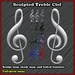 Sculpted Treble Clef with Shade Maps and Several Baked Textures (G Clef, Musical symbol)