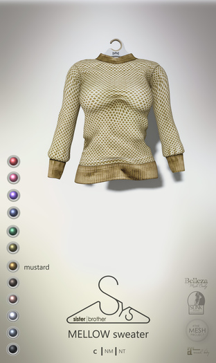 [sYs] MELLOW sweater (fitted & body mesh) - mustard