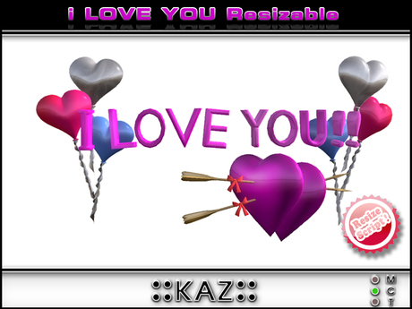 I LOVE YOU SCULPTED TEXT VALENTINE GIFT - PINK RESIZABLE