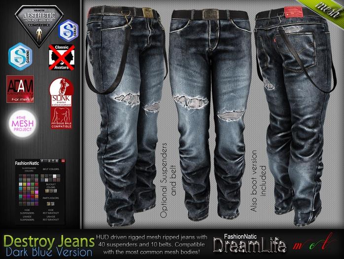 Destroy Male Dark Blue Denim Ripped Jeans Pants - Mesh - TMP, Adam,Slink,Aesthetic,Signature Gianni -Geralt,Belleza Jake