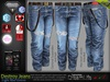 Destroy Male Light Blue Denim Ripped Jeans Pants -Mesh - TMP, Adam,Slink,Aesthetic,Signature Gianni -Geralt,Belleza Jake