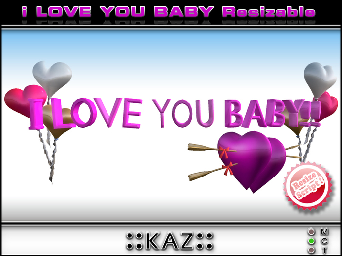 I LOVE YOU BABY SCULPTED TEXT VALENTINE GIFT - PINK RESIZABLE
