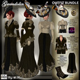 C&F Gwendolin 2 Belle Epoque Outfit BUNDLE - Black Gold - Mesh, Fitmesh & Mesh Body sizes